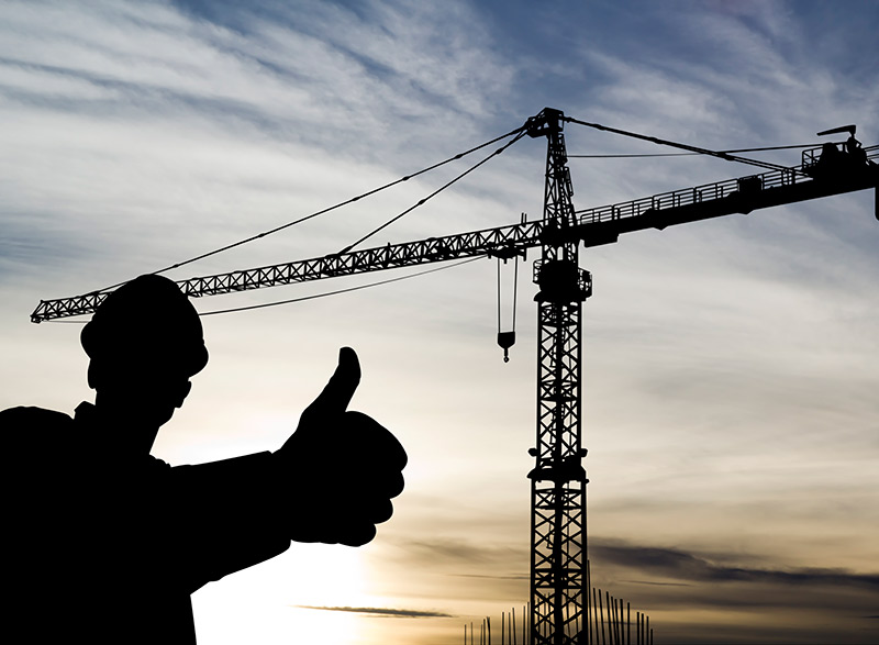 Crane and Worker